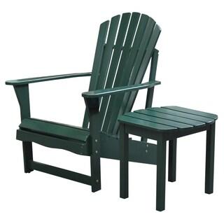 Hunter Green 2-piece Adirondack Chair/ Side Table Set