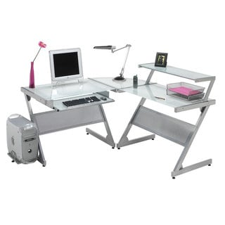 Silvertone Frosted Glass L-shaped Multi-purpose Work Station