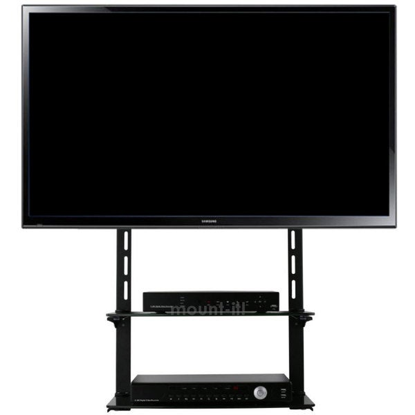 Mount-it! Low Profile Flat Panel TV Moun Glass Entertainment Center Combo