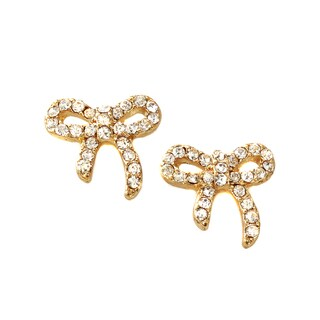 White Crystal Mini Bow Stud Earrings