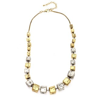 Hand-crafted Two-tone Nickel Cubes Beaded Necklace (India)