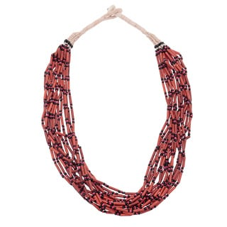 Hand-crafted Coral Reef Beaded Multi-strand Necklace (India)