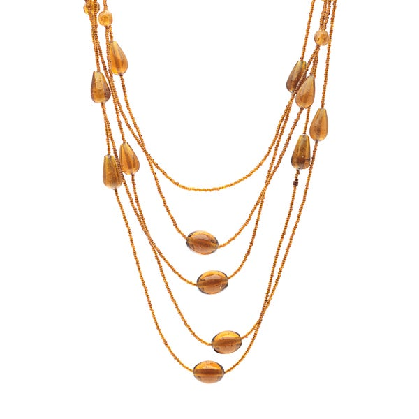 Hand-crafted Brown Glass 5-row Layered Necklace (India)