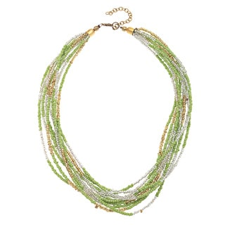 Lime Green/ Silvertone Glass Bead Multi-strand Necklace (India)