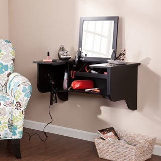 Upton Home Black Wall Mount Ledge with Vanity Mirror