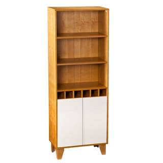 Upton Home Tall Keighley Natural Oak and White Cabinet with Wine Storage