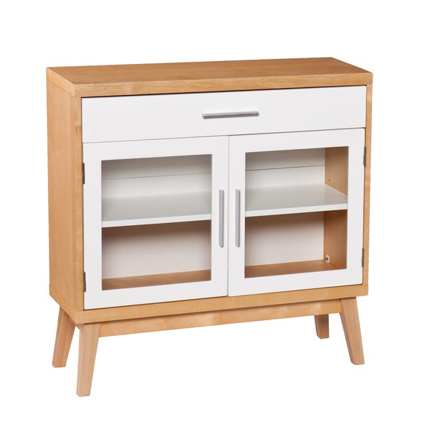 Upton Home Keighley Natural Oak and White Storage Cabinet
