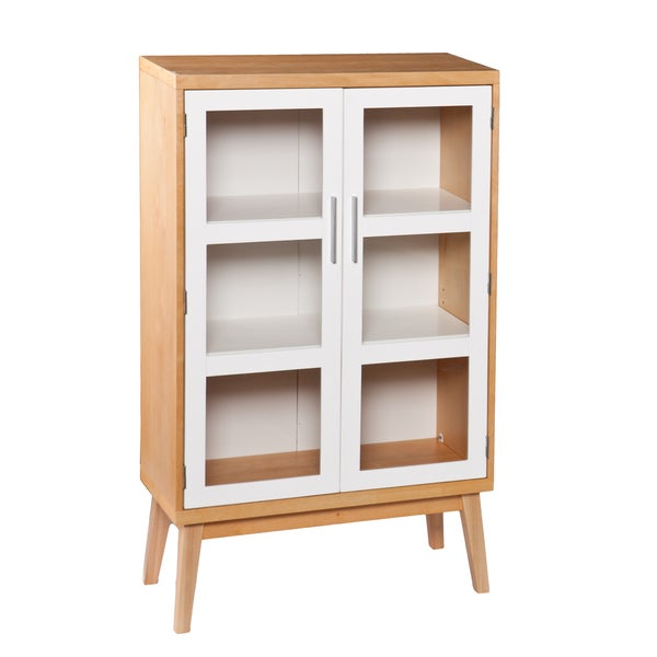 Upton Home Keighley Natural Oak and White Double-Door Cabinet