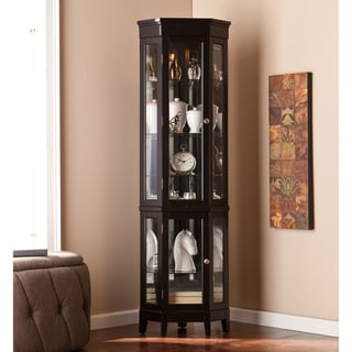 Copper Grove Bijoux Black Corner Curio Display Cabinet