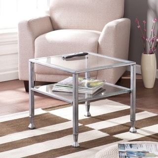 Upton Home Silver Metal and Glass Cocktail Table