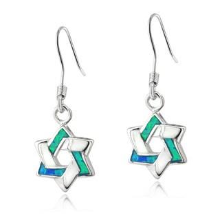 Glitzy Rocks Sterling Silver Created Blue Opal Star of David Earrings