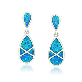 Glitzy Rocks Sterling Silver Created Blue Opal Teardrop Earrings
