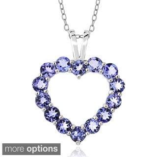 Glitzy Rocks Sterling Silver 3 4/5ct TGW Tanzanite Open Heart Necklace