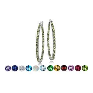 Glitzy Rocks Silvertone Gemstone or Cubic Zirconia Birthstone Hoop Earrings
