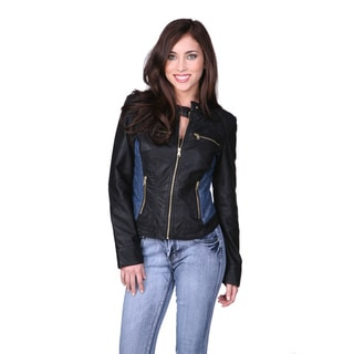 Cavalini Women's Ci Sono Black Leather Jacket with Denim Sides