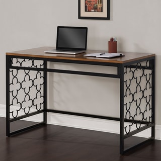 Quatrefoil Black and Pecan-top Writing Desk