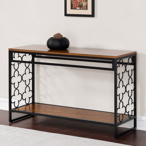 Quatrefoil Black and Pecan-top Sofa Table