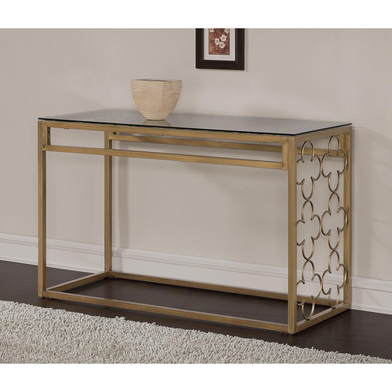 Quatrefoil Goldtone Metal And Glass Sofa Table