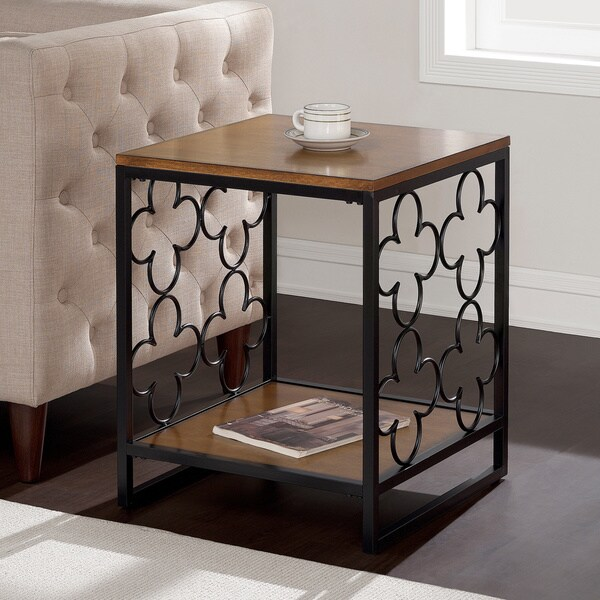 Quatrefoil Black and Pecan-Top End Table