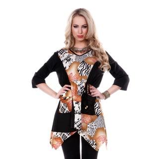 Women's V-neck Animal Multi Pattern 3/4-length Sleeve Tunic