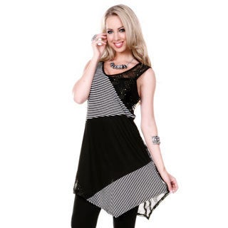 Women's Black/ White Sleeveless Multi Pattern Tunic
