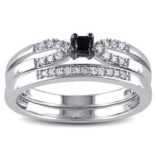 Miadora Sterling Silver 1/5ct TDW Black Diamond Bridal Set