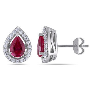 Miadora Silver Created Ruby and White Sapphire Stud Earrings