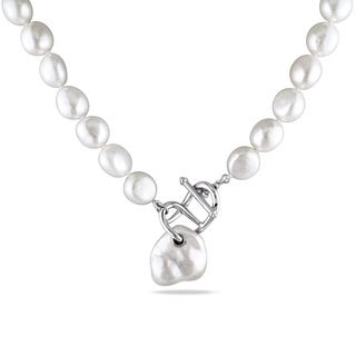 Miadora Sterling Silver Freshwater White Pearl Necklace (10-18mm)