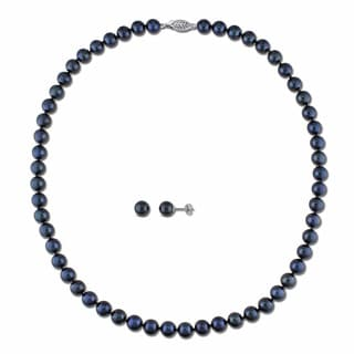Miadora 14k White Gold 2-pc Set of Cultured Black Pearl Necklace and Earrings (6.5-7 mm)