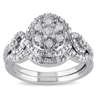 Miadora Sterling Silver 1/3ct TDW Diamond Bridal Set (H-I, I2-I3)