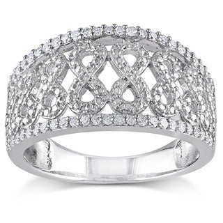 Haylee Jewels Sterling Silver 1/4ct TDW Diamond Infinity Ring (H-I, I2-I3)
