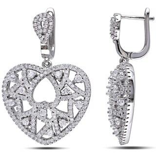 Miadora Sterling Silver Cubic Zirconia Heart Earrings