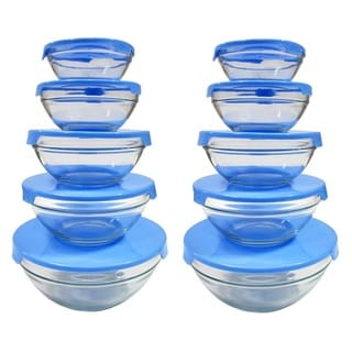 5-piece Nesting Glass Bowl Set with Blue Lids (Pack of 2)