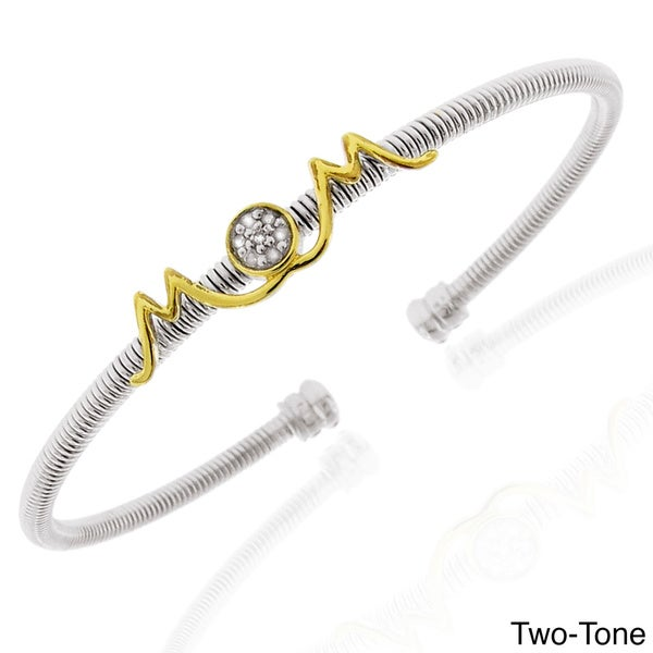 Gioelli Sterling Silver and Stainless Steel Diamond Accent 'Mom' Bangle Bracelet