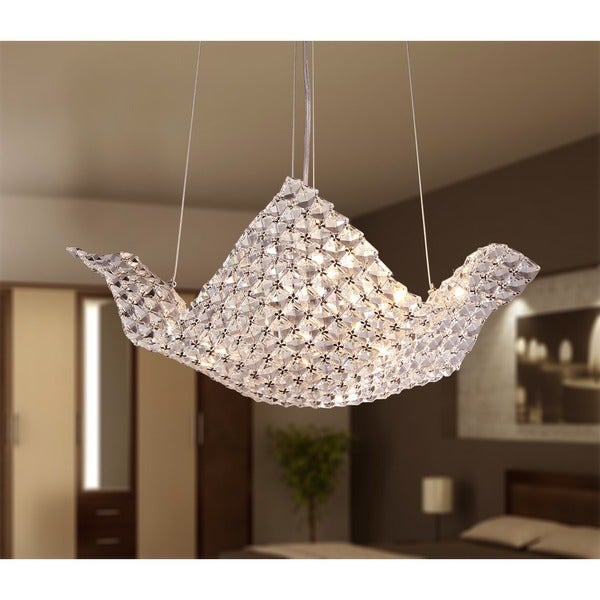 Rapunzel Chrome and Crystal 5-light Basket Chandelier (As Is Item)