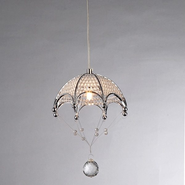 Cnidaria Umbrella-shaped Chrome and Crystal 1-light Chandelier