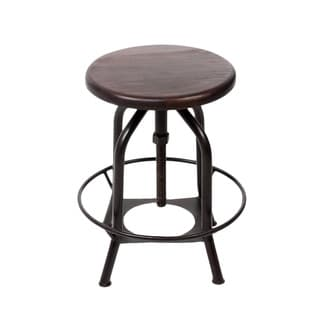 24-inch Industrial Brown Dining Stool
