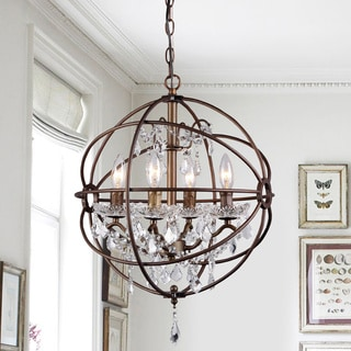 Edwards Antique Bronze and Crystal 6-light Sphere Chandelier