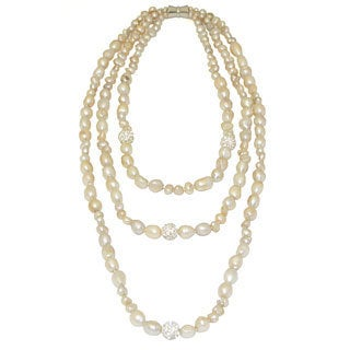 Gardenia Jewelry Elegant Mocha Triple Strand Freshwater Pearl Necklace (7-8 mm)