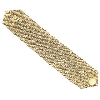Goldtone Double Snap Mesh Wraparound Bracelet (India)