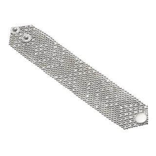 Silvertone Mesh Button Snap Wraparound Bracelet (India)