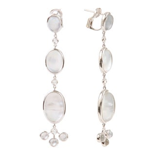 Ivanka Trump Bubbke Collection 18k White Gold 1/3ct TDW Diamond and Mother of Pearl Inlay Earrings (G-H, SI1-SI2)