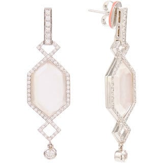 Ivanka Trump 18k White Gold 3/4ct TDW Diamond and Mother of Pearl Crossover Earrings (G-H, SI1-SI2)