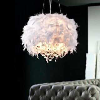Iglesias Fluffy White Feathers and Crystal 3-light Pendant