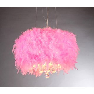 Rosie Pink Feathers and Crystals 3-light Pendant