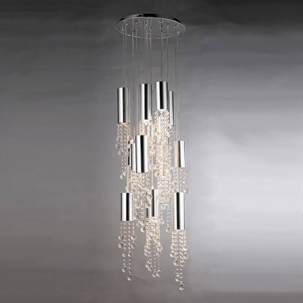 Dorothy Drop-down Crystal and Chrome 15-light Flush Fixture