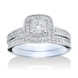 14k White Gold 1 1/6ct TDW Halo Diamond Bridal Set (G-H, I1-I2)