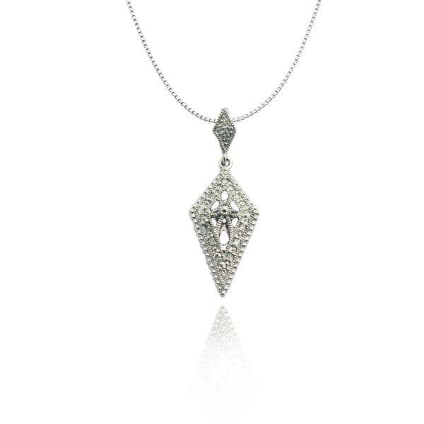 Gioelli Sterling Silver Diamond-shaped Diamond Accent Pendant Necklace