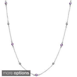 Sterling Silver Diamond Accent and Semi-precious Stones By-the-yard Necklace