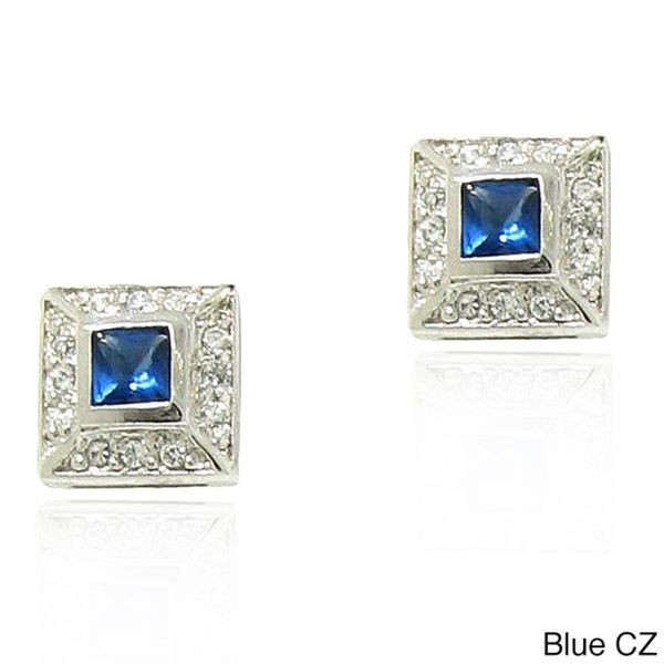 Gioelli Sterling Silver Square Bezel-set Cubic Zirconia Stud Earrings